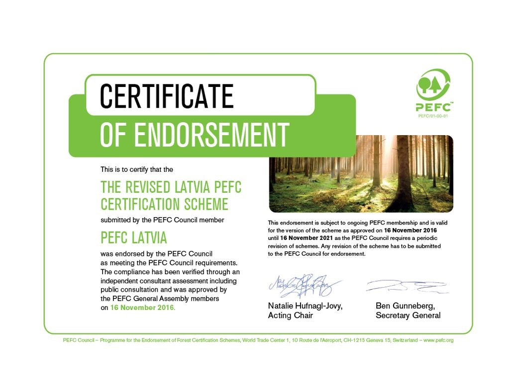 Certificate of Endorsement